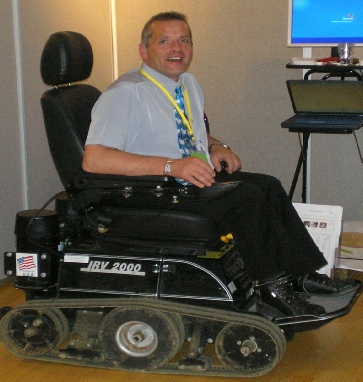 Peter Prentice demonstrating the TracAbout IRV2000 at the PMG Exhibition 2007. Photo Courtesy of Dave Long